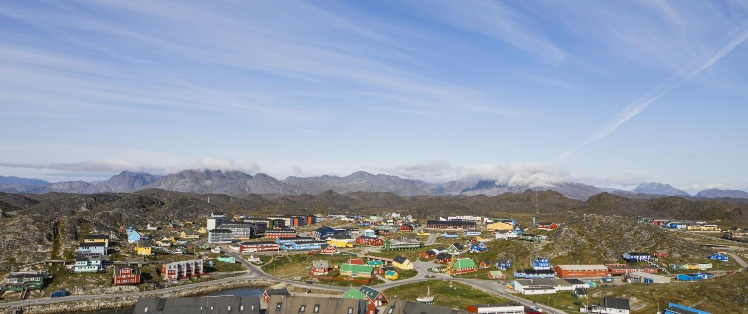 Drone view of old town Paamiut Capital Region, Photo by Aningaaq Rosing Carlsen, Visit Greenland