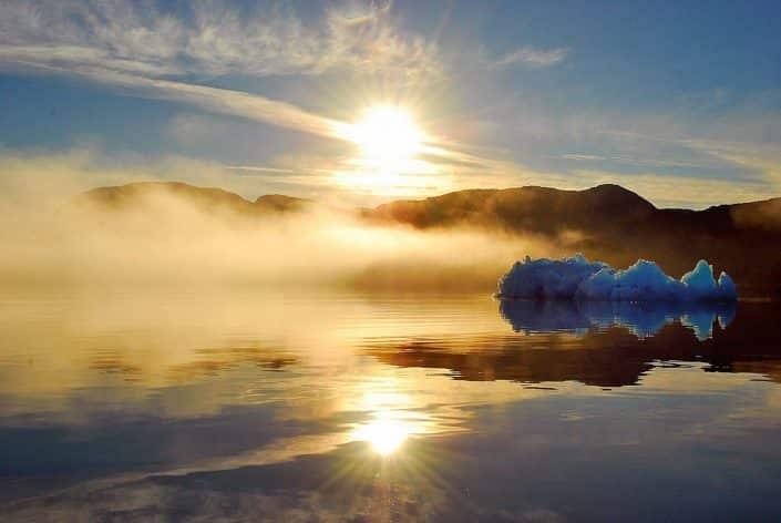 Bright sunset in Qaqortoq. Photo by Mads Pihl.