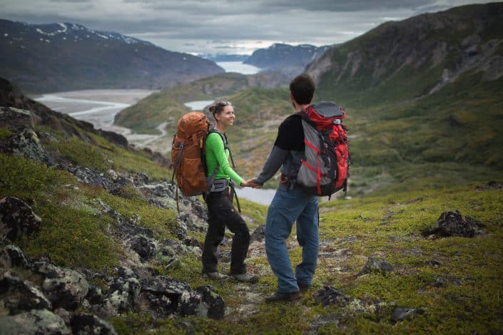 Hikers looking towards the ice cap in Narsarsuaq. Photo by David Buchmann.