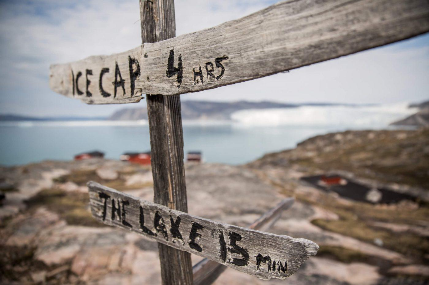 A sign at Eqi Glacier Lodge in North Greenland. By Mads Pihl