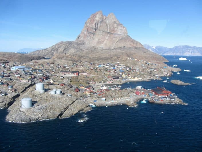 An aerial view of Uummannaq on a bright summer day in North Greenland. Photo by Ella Grødem.