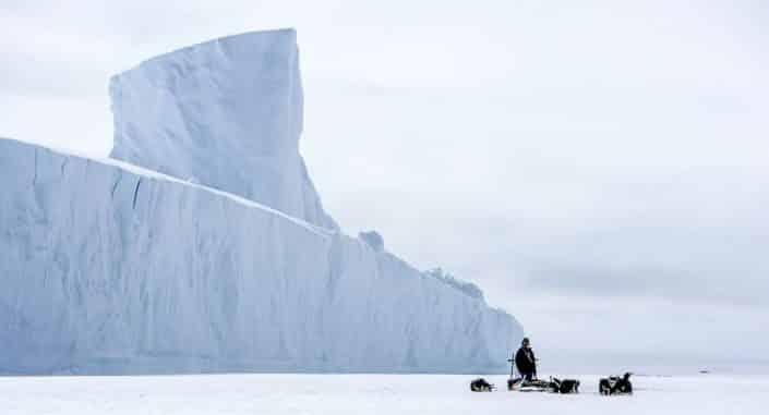 Iceberg and Dog sled. By Jørgen Chemnitz