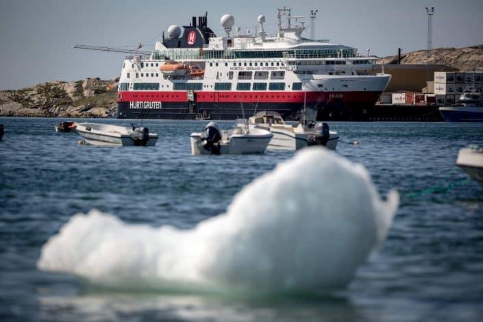 MS Fram docked alongside in Qasigiannguit in Greenland. Photo by Mads Pihl.