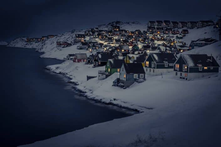 Myggedalen in Nuuk, Greenland, on a winter's night. By Mads Pihl