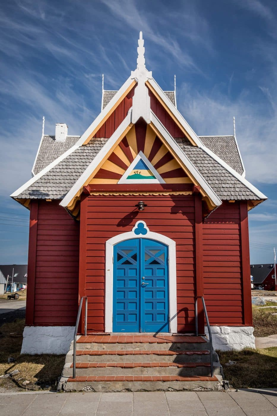 The church entrance in Qeqertarsuaq in Greenland. Photo by Mads Pihl.