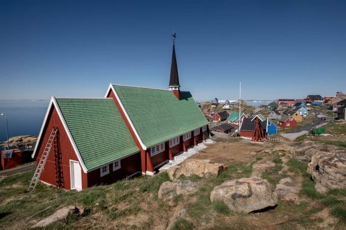 The church in Upernavik in Greenland. Photo by Mads Pihl.
