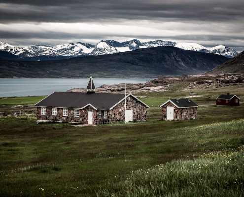 The church on a grey summer day in Igaliku in South Greenland. Photo by Mads Pihl.