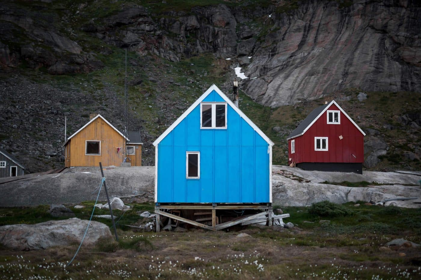Typical colourful houses in Greenland - these ones in Aappilattoq in South Greenland. Photo by Mads Pihl.