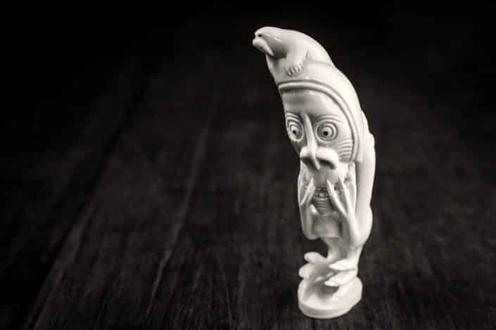 East Greenland bone carving figure from Tasiilaq walrus. By Mads Pihl