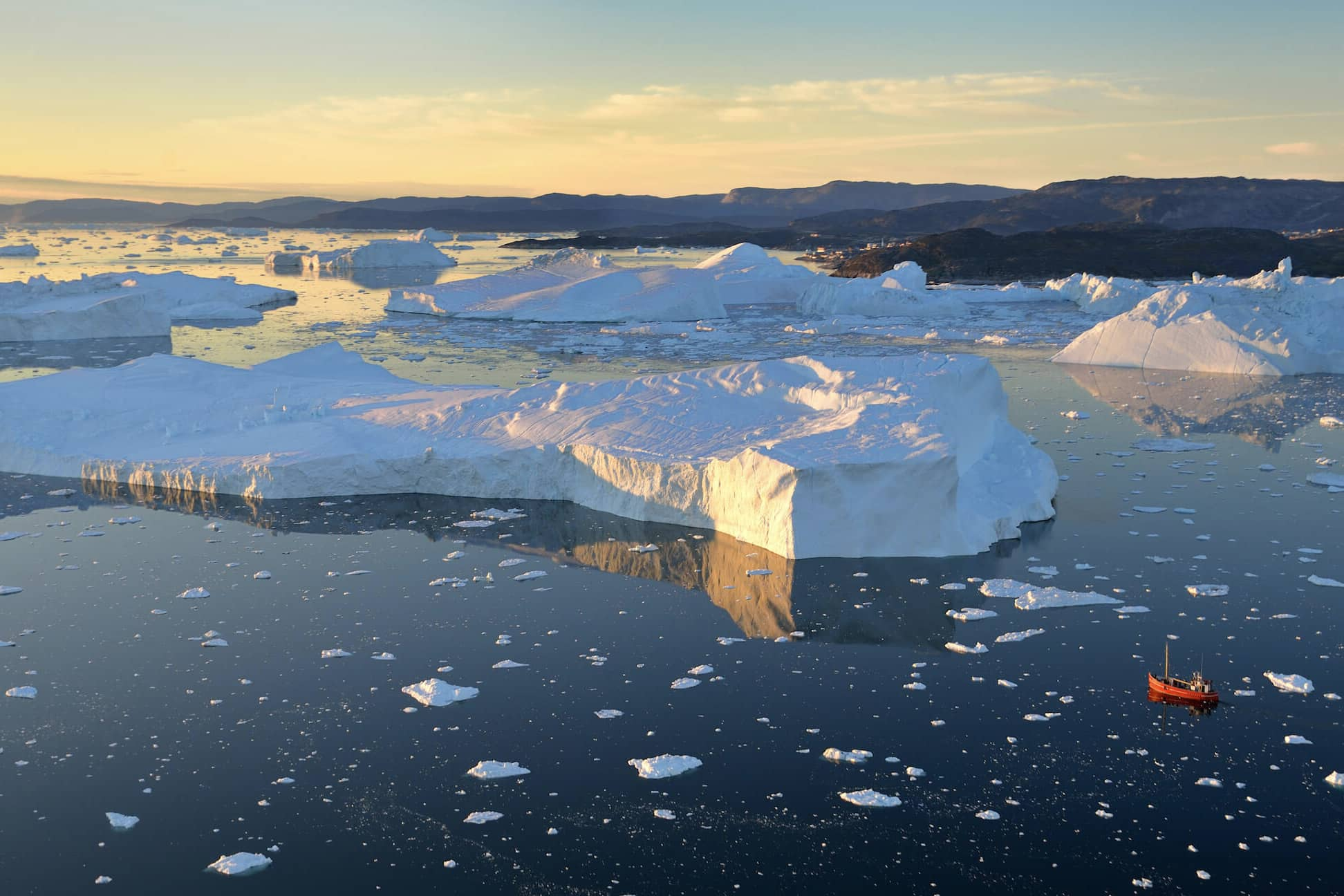 Ilulissat Icefjord from the air. Photo by Rino Rasmussen