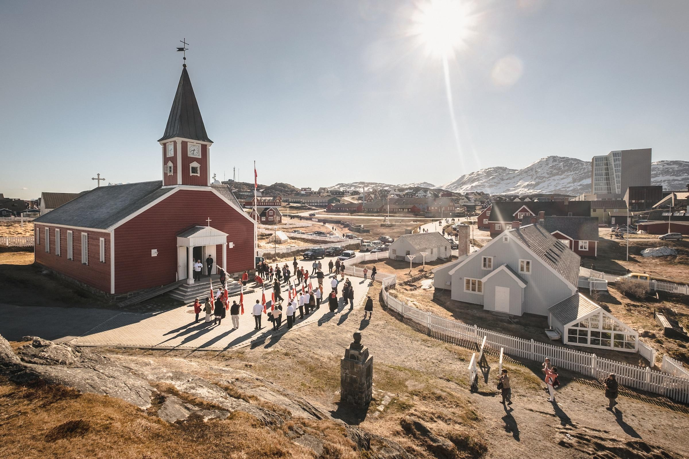 The old church in Nuuk on a sunny National Day in Greenland, June 21 - 2015. By Mads Pihl.