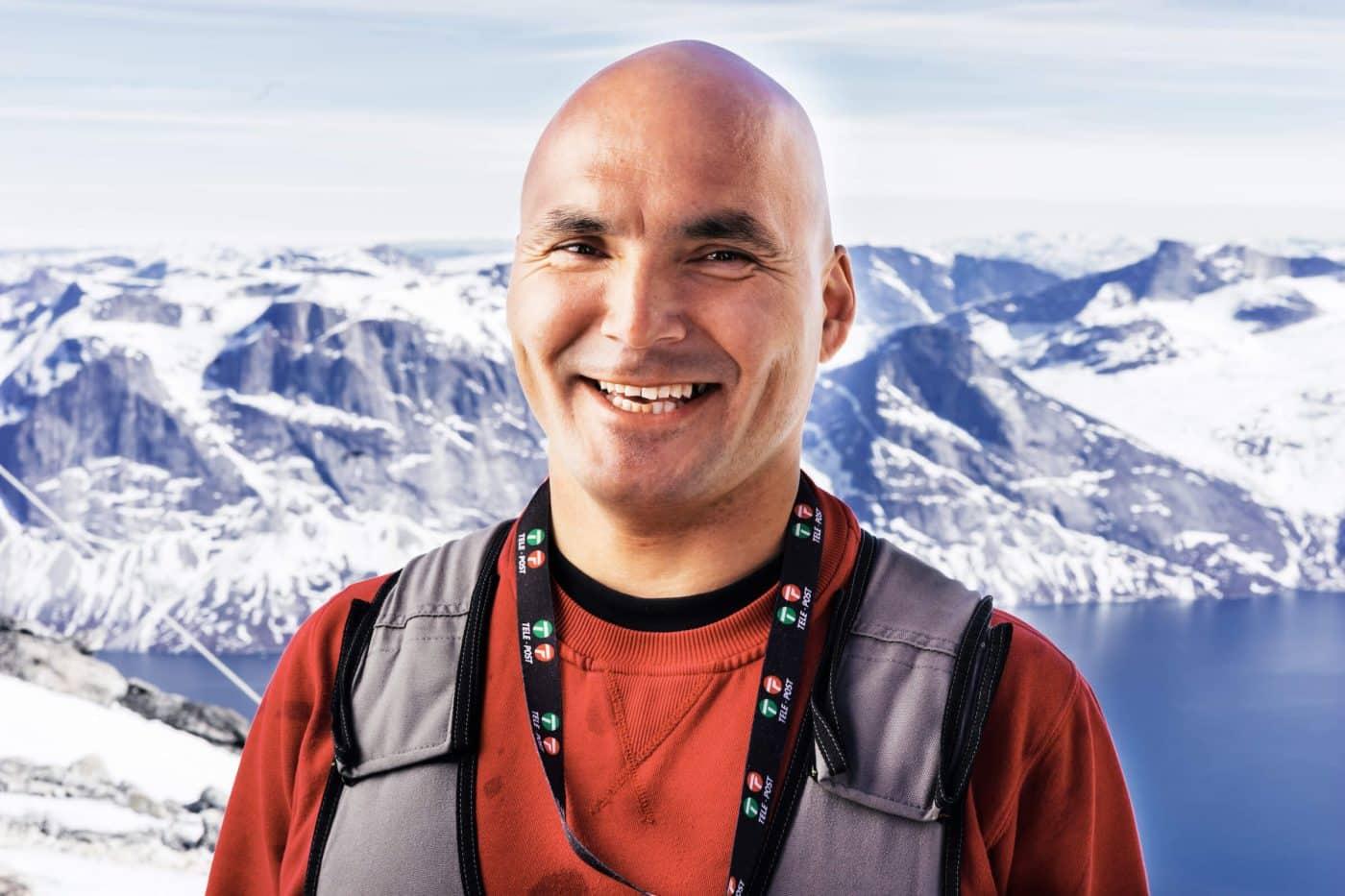 Portrait of Tele-Post's employee - Hartvig Heilmann, at the top of Qingaaq mountain. Photo by Filip Gielda