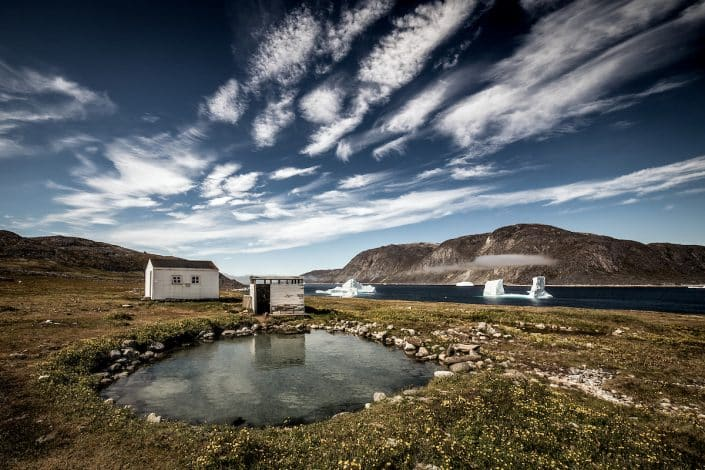 A view over the Uunartoq hot springs in South Greenland