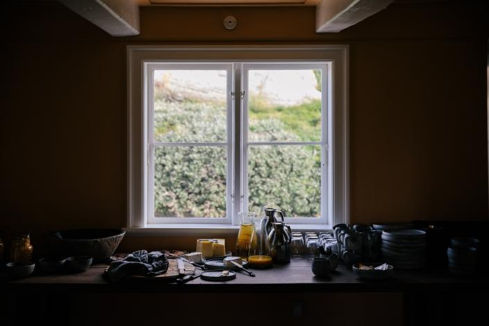 Morning light in the breakfast room of the Ilimanaq restaurant. Photo by Jessie Brinkman Evans