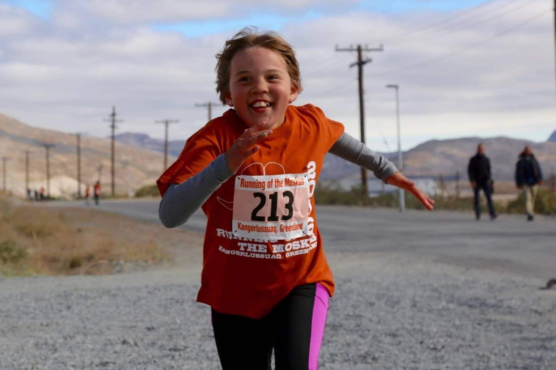 running of the moskus happy girl running
