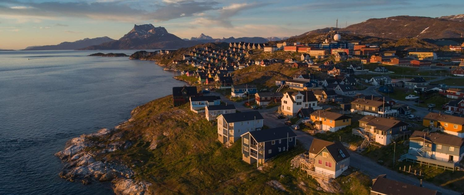 Aerial of Nuuk and Sermitsiaq at Dusk. Photo by Elia Locardi - Visit Greenland