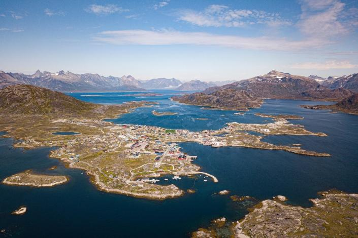 The town of Nanortalik, South Greenland, from above. Photo by Aningaaq R Carlsen - Visit Greenland