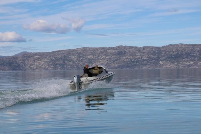 North Safari Travel guides sailing boat around Kangerlussuaq area. Photo by North Safari Travel