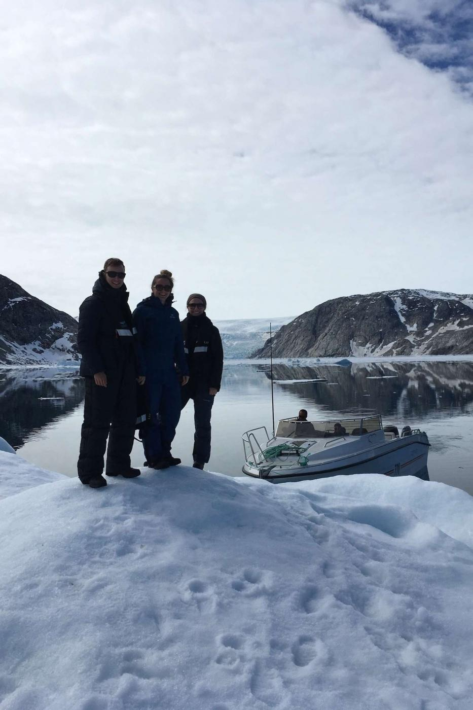 Day tour in Sermilik, pitstop on an piece of ice in front of a glacier. Photo by Line Kristiansen