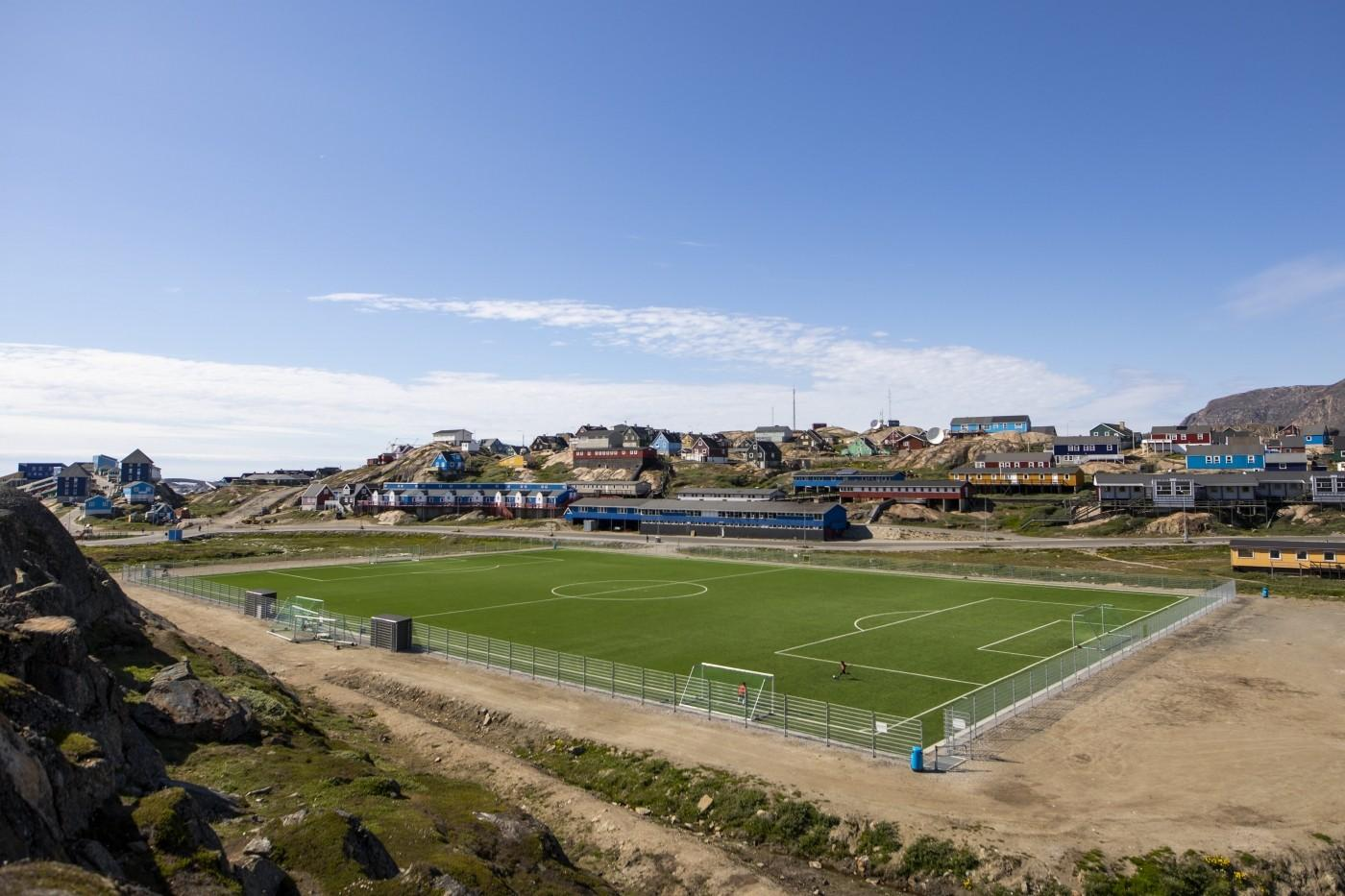 Football field in Sisimiut. Photo by Aningaaq R Carlsen - Visit Greenland