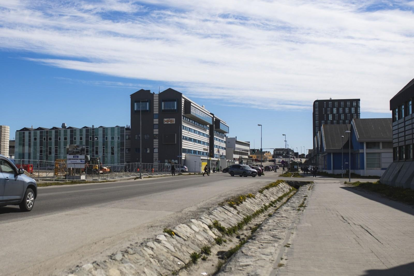 After-The main road of Nuuk towards Hotel Hans Egede
