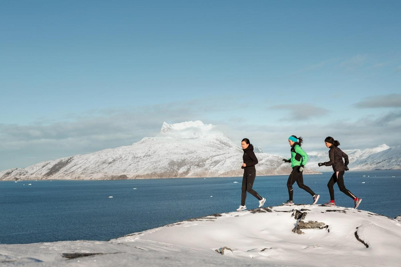 Runners near Mt Sermitisiaq, Nuuk. Photo by Rebecca Gustafsson - Visit Greenland