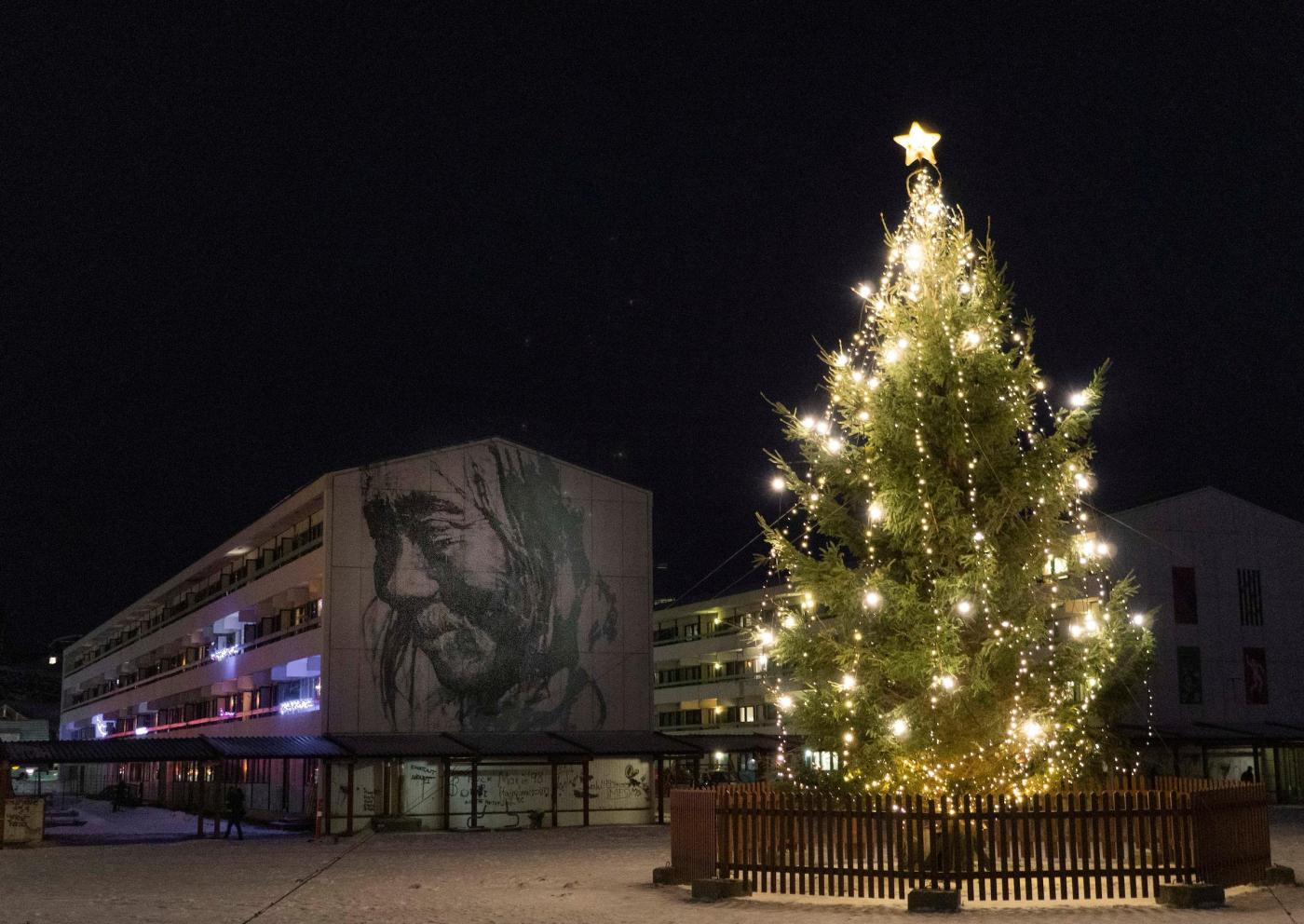 Christmas Tree in Nuuk. Photo by Stine Selmer Andersen - Visit Greenland