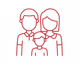 line icon of family in red