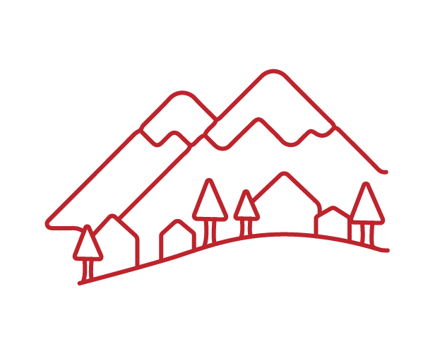 line icon of mountainous village in red