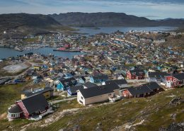A daytime view over Qaqortoq in South Greenland. Photo by Mads Pihl
