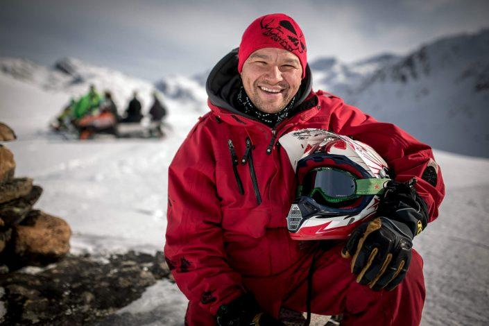 A snowmobiler from Greenland portrayed in the Sisimiut backcountry. Photo by Mads Pihl.