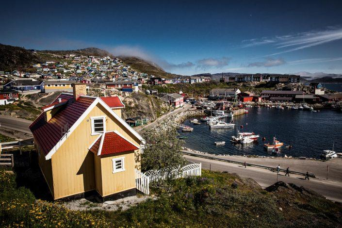 A view over parts of Qaqortoq - the largest town in South Greenland. Photo by Mads Pihl - Visit Greenlan
