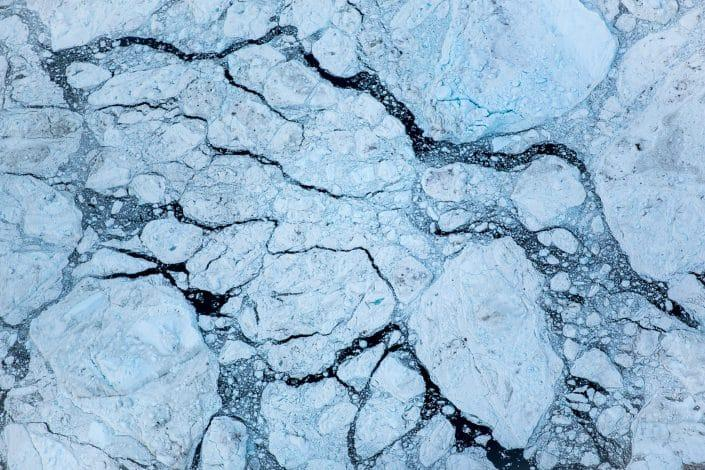 An aerial view of iceberg clusters in the Ilulissat ice fjord in Greenland. By Mads Pihl