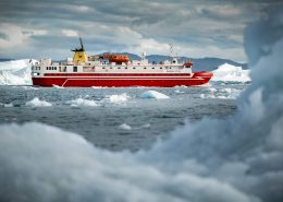Sarfaq Ittuk cruising in the Disko Bay outside Ilulissat ice fjord in Greenland. Visit Greenland