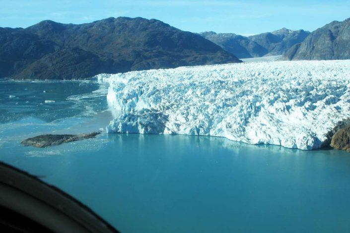 Greenland ice cap meets ocean. Photo by Blue Ice Explorer, Visit Greenland.