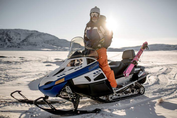 Bruno Compagnet snowmobiling in Greenland near Oqaatsut and Ilulissat