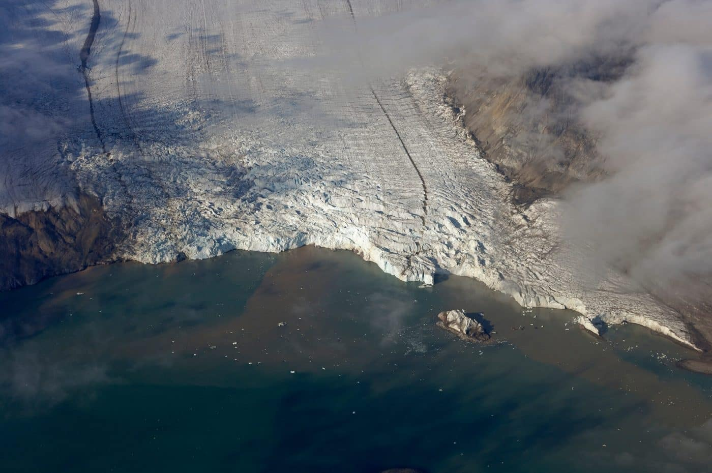 East Greenland glacier from the air, by Visit Greenland