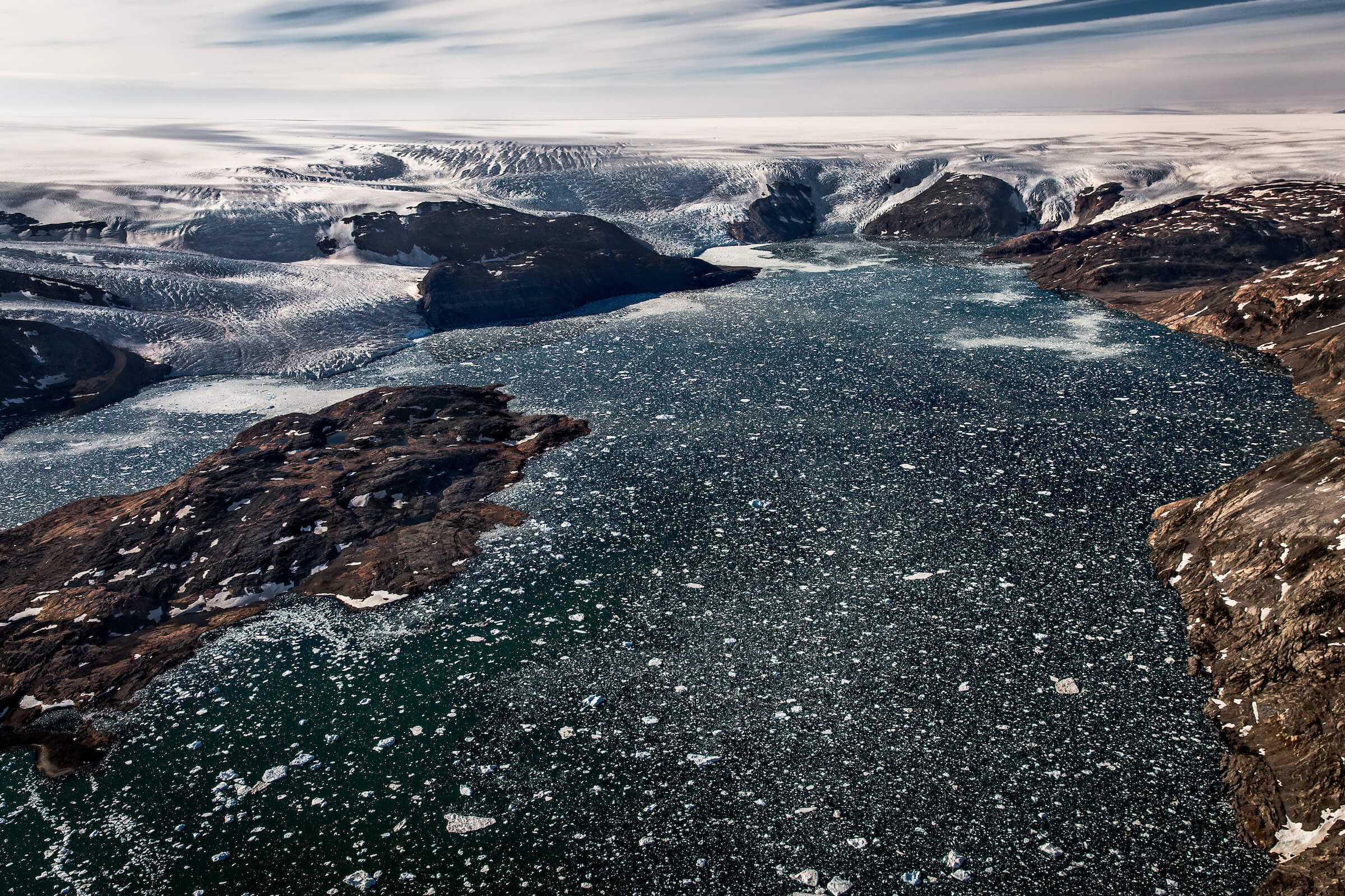 Five glaciers in Johan Petersens Fjord in East Greenland flow from the Greenland Ice Sheet. By Mads Pihl