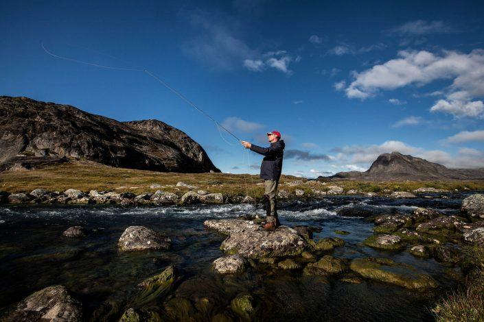 Fly fishing on the lower Erfalik river in Greenland