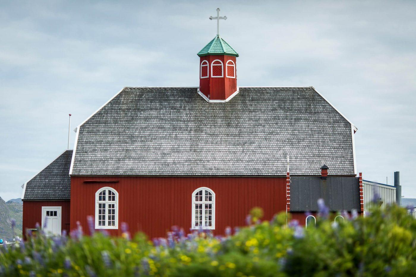The old church in downtown Qaqortoq in South Greenland. Photo by Mads Pihl - Visit Greenland