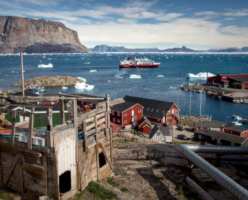 Hurtigruten's MS Fram in the Uummannaq bay in Greenland