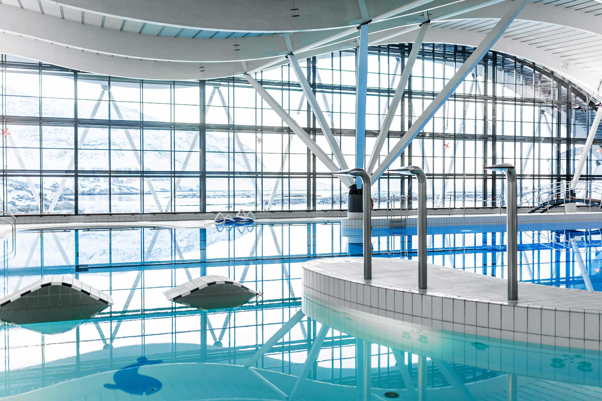 Architecture - Interior of the indoor swimmingpool Malik in Nuuk in Greenland, by Rebecca Gustafsson