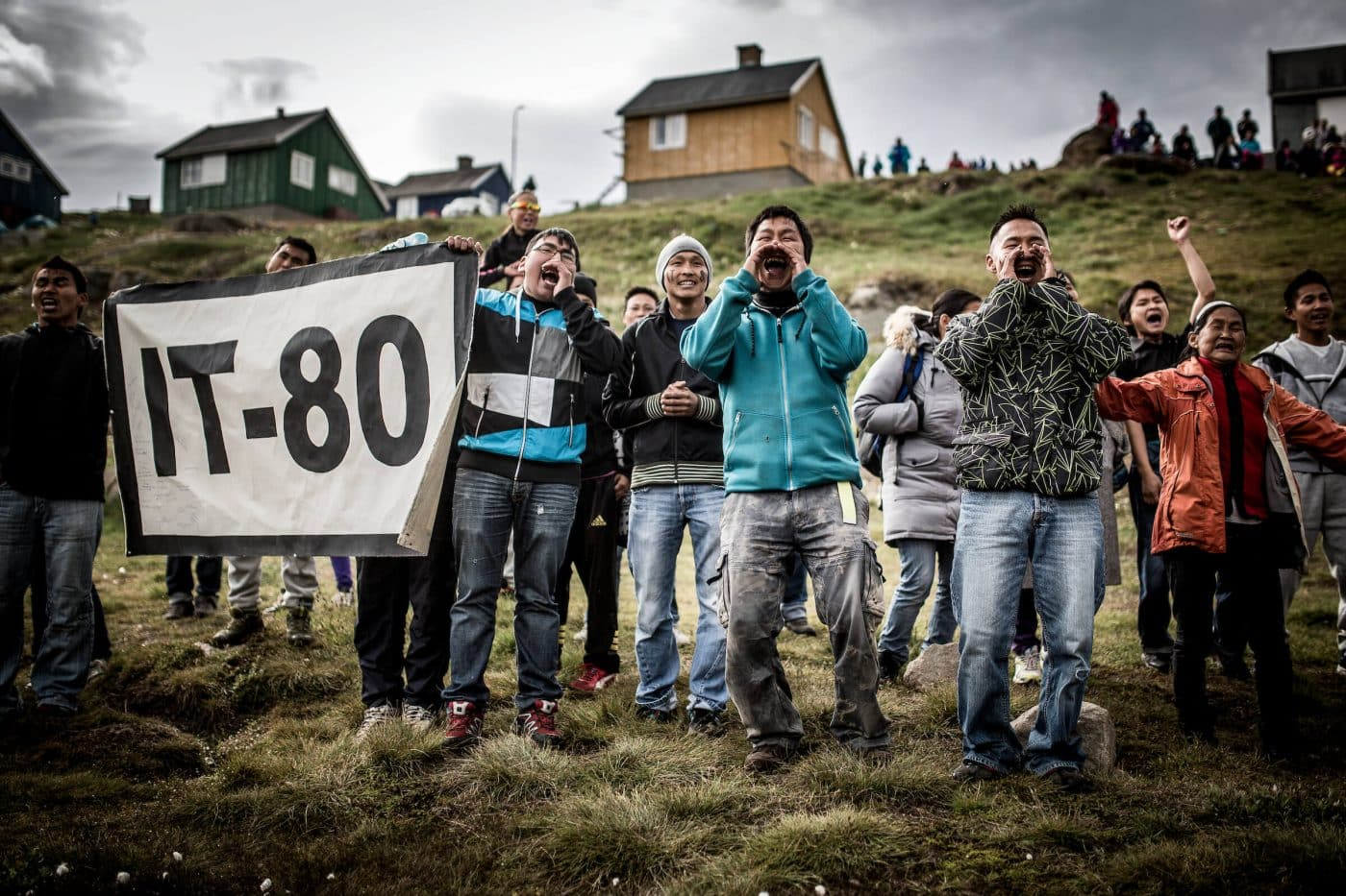 IT-80 football supporters from the village Isortoq at the 2013 East Greenland football championships. By Mads Pihl