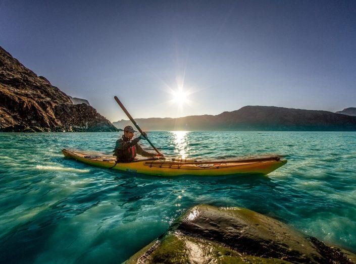 Kayaking with Greenland Outdoors in the Kangerlussuaq fjord in Greenland. Photo by Mads Pihl