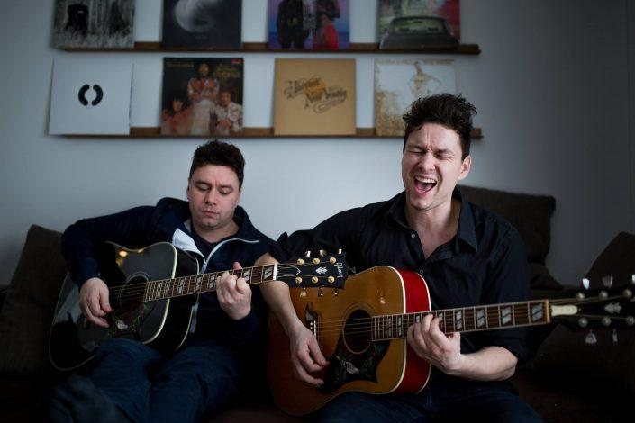 Music - Christian and Frederik Elsner - the core of the Greenlandic band Nanook, performing in Frederik's living room in Nuuk