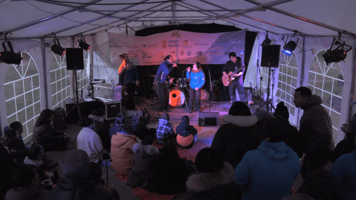Music in tent. A Music Festival in the Fjord. Photo by Aningaaq Rosing Carlsen.