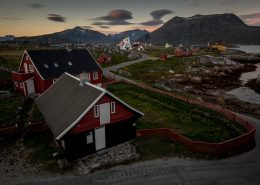 Evening light over the museum and old town parts of Nanortalik in South Greenland. Photo by Mads Pihl - Visit Greenland