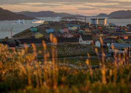 Sunset over Narsaq in South Greenland