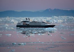 Ponant Cruises L'Austral in early morning light near Ilulissat in Greenland. By Mads Pihl