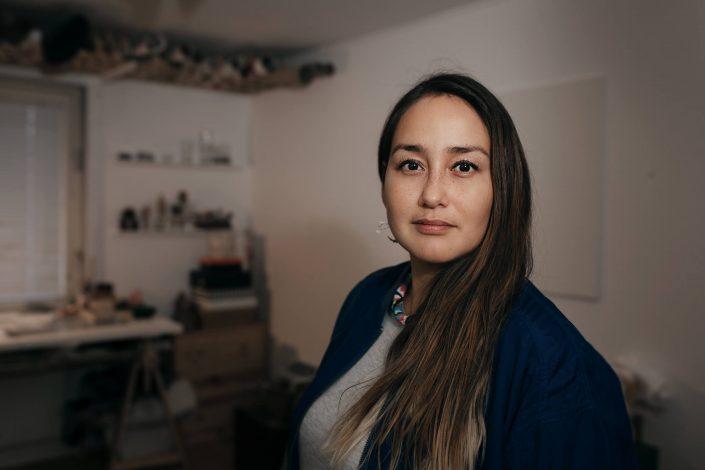 Portrait of the greenlandic artist Lisbeth Karline Poulsen in her home studio. Photo by Rebecca Gustafsson